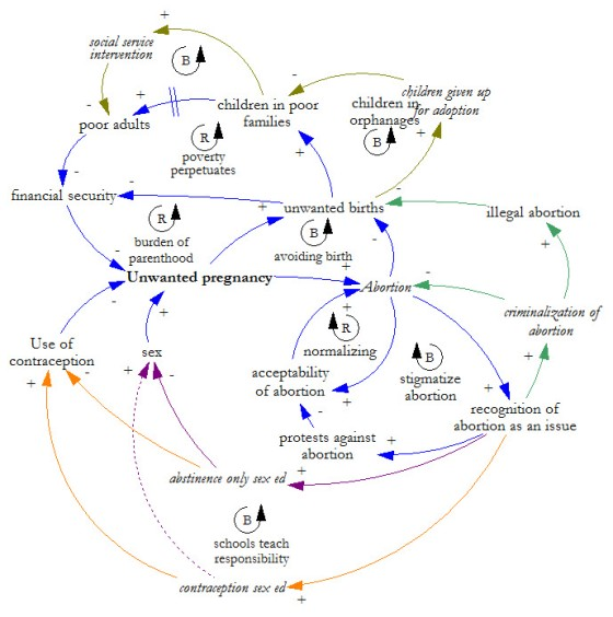 full abortion model, causal loop diagram